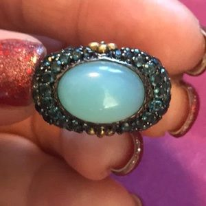 BARBARA BIXBY CHALCEDONY & BLUE TOPAZ PAVE RING